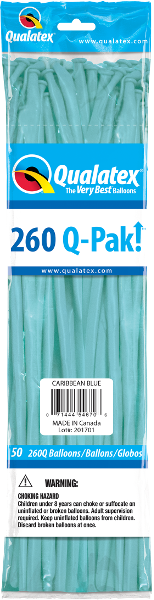 260Q Pak! Fashion Tone Caribbean Blue-50 Count, 260Q-Pak, Qualatex, tmyers.com - T. Myers Magic Inc.