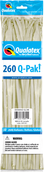 260Q Pak! Jewel Tone Diamond Clear-50 Count, 260Q-Pak, Qualatex, T. Myers Magic Inc. - T. Myers Magic Inc.