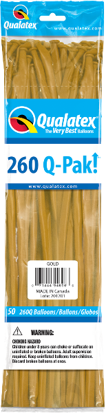 260Q-Pak! Metallic Gold-50 Count, 260Q-Pak, Qualatex, T. Myers Magic Inc. - T. Myers Magic Inc.