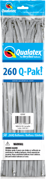 260Q Pak! Fashion Tone Grey-50 Count, 260Q-Pak, Qualatex, tmyers.com - T. Myers Magic Inc.
