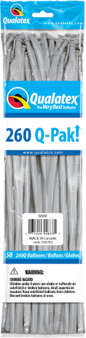 260Q Pak! Fashion Tone Grey-50 Count, 260Q-Pak, Qualatex, T. Myers Magic Inc. - T. Myers Magic Inc.