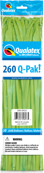 260Q Pak! Fashion Tone Lime Green-50 Count, 260Q-Pak, Qualatex, tmyers.com - T. Myers Magic Inc.