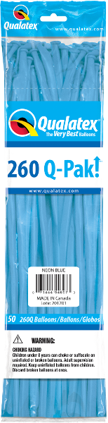 260Q-Pak! Neon Blue-50 Count, 260Q-Pak, Qualatex, T. Myers Magic Inc. - T. Myers Magic Inc.