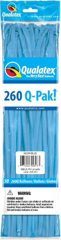 260Q Pak! Neon Blue-50 Count, 260Q-Pak, Qualatex, T. Myers Magic Inc. - T. Myers Magic Inc.