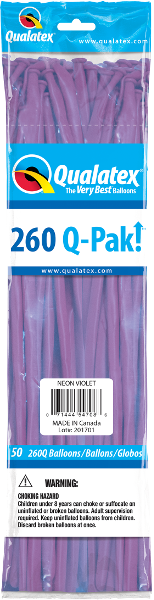 260Q-Pak! Neon Violet-50 Count, 260Q-Pak, Qualatex, T. Myers Magic Inc. - T. Myers Magic Inc.