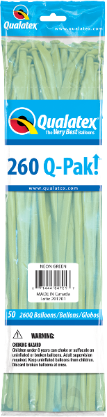 260Q-Pak! Neon Green-50 Count, 260Q-Pak, Qualatex, T. Myers Magic Inc. - T. Myers Magic Inc.