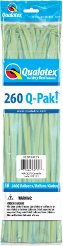 260Q Pak! Neon Green-50 Count, 260Q-Pak, Qualatex, tmyers.com - T. Myers Magic Inc.