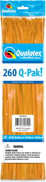 260Q-Pak! Standard Orange-50 Count, 260Q-Pak, Qualatex, T. Myers Magic Inc. - T. Myers Magic Inc.