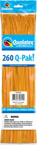 260Q Pak! Standard Orange-50 Count, 260Q-Pak, Qualatex, tmyers.com - T. Myers Magic Inc.