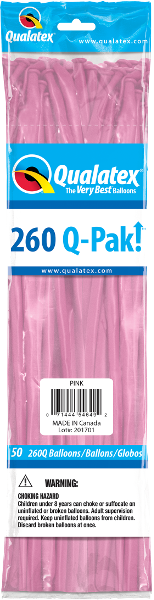 260Q Pak! Standard Pink-50 Count, 260Q-Pak, Qualatex, tmyers.com - T. Myers Magic Inc.