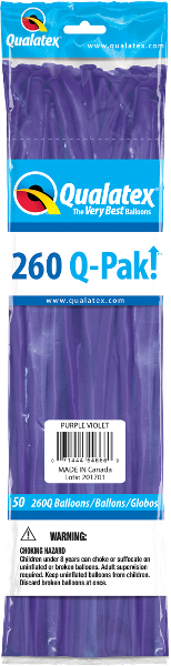 260Q Pak! Fashion Tone Purple Violet-50 Count, 260Q-Pak, Qualatex, tmyers.com - T. Myers Magic Inc.