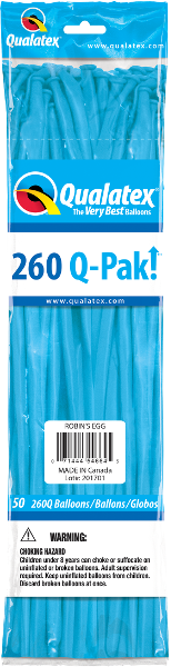 260Q Pak! Fashion Tone Robin's Egg Blue-50 Count, 260Q-Pak, Qualatex, tmyers.com - T. Myers Magic Inc.