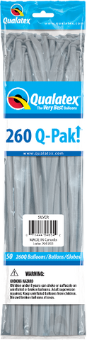 260Q-Pak! Metallic Silver-50 Count, 260Q-Pak, Qualatex, T. Myers Magic Inc. - T. Myers Magic Inc.