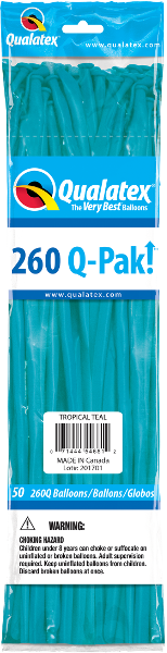 260Q Pak! Fashion Tone Tropical Teal-50 Count, 260Q-Pak, Qualatex, tmyers.com - T. Myers Magic Inc.