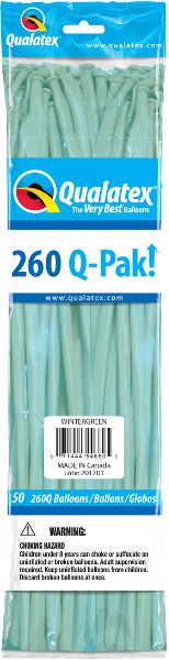 260Q Pak! Fashion Tone Winter Green-50 Count, 260Q-Pak, Qualatex, T. Myers Magic Inc. - T. Myers Magic Inc.