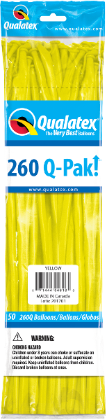 260Q-Pak! Standard Yellow-50 Count, 260Q-Pak, Qualatex, T. Myers Magic Inc. - T. Myers Magic Inc.