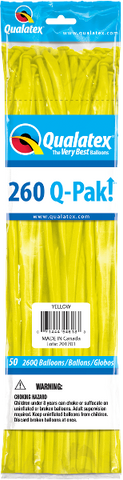260Q Pak! Standard Yellow-50 Count, 260Q-Pak, Qualatex, tmyers.com - T. Myers Magic Inc.