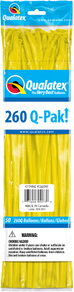 260Q Pak! Jewel Tone Citrine Yellow-50 Count, 260Q-Pak, Qualatex, tmyers.com - T. Myers Magic Inc.