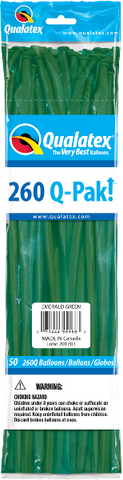 260Q Pak! Jewel Tone Emerald Green-50 Count, 260Q-Pak, Qualatex, tmyers.com - T. Myers Magic Inc.