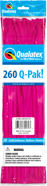 260Q-Pak! Jewel Tone Magenta-50 Count, 260Q-Pak, Qualatex, T. Myers Magic Inc. - T. Myers Magic Inc.