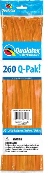 260Q-Pak! Jewel Tone Mandarin Orange-50 Count, 260Q-Pak, Qualatex, T. Myers Magic Inc. - T. Myers Magic Inc.
