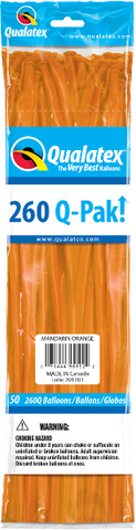 260Q Pak! Jewel Tone Mandarin Orange-50 Count, 260Q-Pak, Qualatex, tmyers.com - T. Myers Magic Inc.