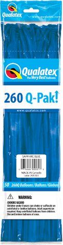 260Q Pak! Jewel Tone Sapphire Blue-50 Count, 260Q-Pak, Qualatex, tmyers.com - T. Myers Magic Inc.