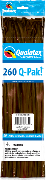 260Q Pak! Fashion Tone Chocolate Brown-50 Count, 260Q-Pak, Qualatex, T. Myers Magic Inc. - T. Myers Magic Inc.