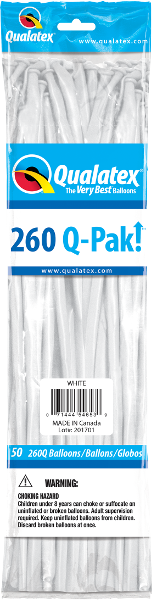 260Q Pak! Standard White-50 Count, 260Q-Pak, Qualatex, tmyers.com - T. Myers Magic Inc.