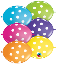 "6"" Quick Link Tropical Polka Dot Assortment-50 Count, 6QLA, Qualatex, tmyers.com - T. Myers Magic Inc."