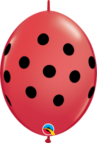 "6"" Quick Link Polka Dot (Lady Bug)-50 Count, 6QL, Qualatex, tmyers.com - T. Myers Magic Inc."