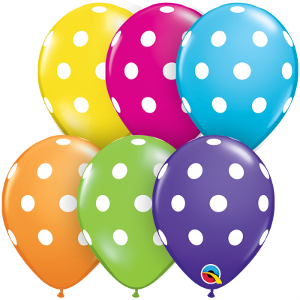 "5"" Round Big Polka Dot Tropical Assortment-100 Count, 5RQI, Qualatex, T. Myers Magic Inc. - T. Myers Magic Inc."