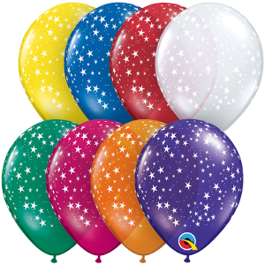 "5"" Round Qualatex Jewel Tone Stars Around Assortment-100 Count, 5RQI, Qualatex, tmyers.com - T. Myers Magic Inc."