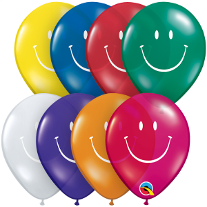 "5"" Smiley Face Assortment-100 Count, 5RQI, Qualatex, tmyers.com - T. Myers Magic Inc."