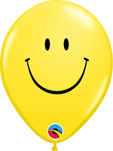 "5"" Round Qualatex Smiley Face-100 Count, 5RQI, Qualatex, tmyers.com - T. Myers Magic Inc."