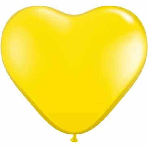 "6"" Qualatex Heart Jewel Citrine Yellow-100 Count, 6HQ, Qualatex, tmyers.com - T. Myers Magic Inc."