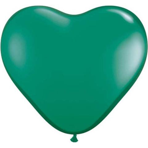 "6"" Qualatex Heart Jewel Emerald Green-100 Count, 6HQ, Qualatex, tmyers.com - T. Myers Magic Inc."