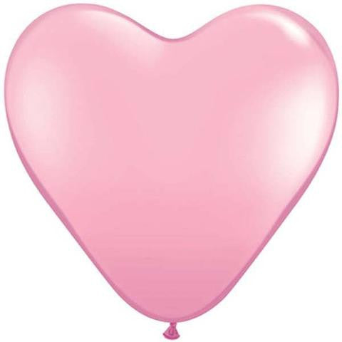 "6"" Qualatex Heart Standard Pink-100 Count, 6HQ, Qualatex, tmyers.com - T. Myers Magic Inc."