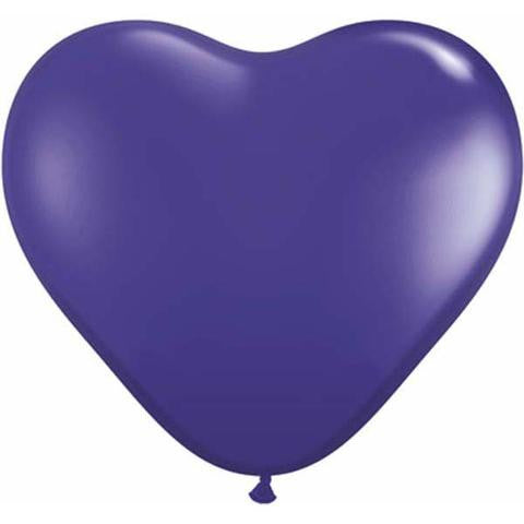 "6"" Qualatex Heart Jewel Quartz Purple-100 Count, 6HQ, Qualatex, tmyers.com - T. Myers Magic Inc."