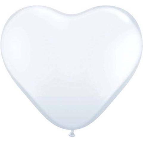 "11"" Qualatex Heart Standard White-50 Count, 11HQS, Qualatex, tmyers.com - T. Myers Magic Inc."