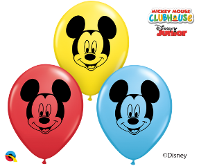 "5"" Round Qualatex Mickey Mouse Face Assortment-100 Count, 5RQI, Qualatex, tmyers.com - T. Myers Magic Inc."