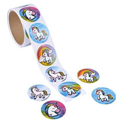 Unicorn Emoticon ROLL STICKERS 100/RL, Stickers, tmyers.com, tmyers.com - T. Myers Magic Inc.
