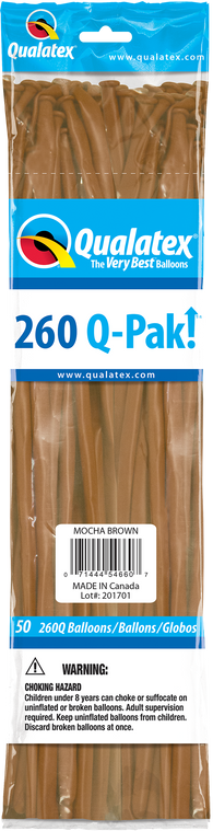 260Q Pak! Fashion Tone Mocha Brown 50 Count, 260Q-Pak, Qualatex, tmyers.com - T. Myers Magic Inc.