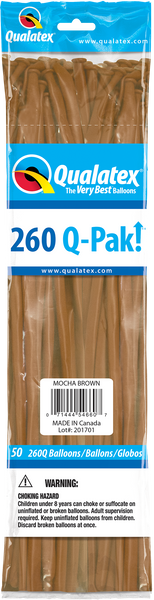 260Q Pak! Fashion Tone Mocha Brown 50 Count, 260Q-Pak, Qualatex, T. Myers Magic Inc. - T. Myers Magic Inc.