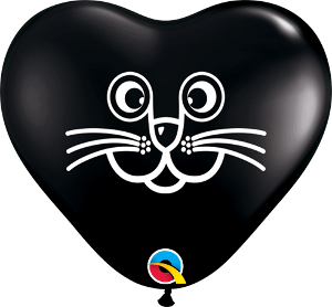 6Q Heart Cat Face Onyx Black w/White Ink-100 Count, 6HQI, Qualatex, T. Myers Magic Inc. - T. Myers Magic Inc.
