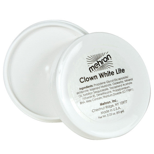 Mehron Clown Makeup 2.25 oz-Clown White Lite, Clown Makeup, Mehron, tmyers.com - T. Myers Magic Inc.