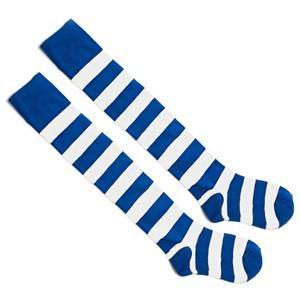 Striped To Toe Knee Hi Socks - Royal Blue/White