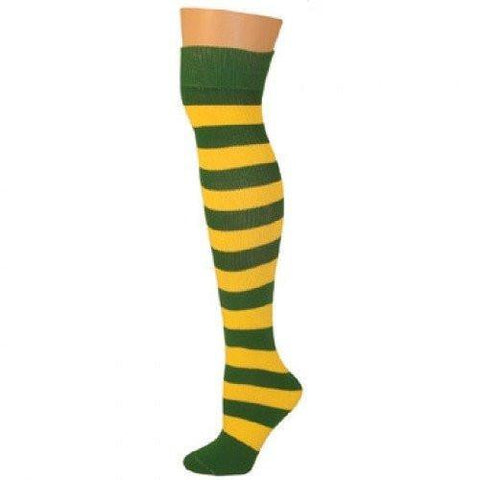 Striped To Toe Knee Hi Socks-Kelly Green/Yellow, Clown Accessories, T. Myers, tmyers.com - T. Myers Magic Inc.