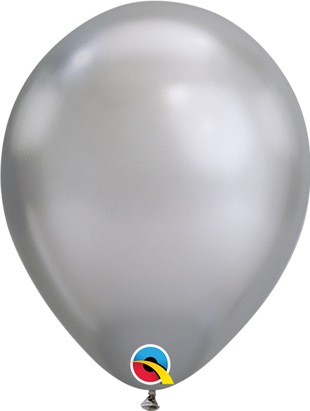 Qualatex 7 inch Round Chrome Silver Balloons 100ct, , tmyers.com, tmyers.com - T. Myers Magic Inc.