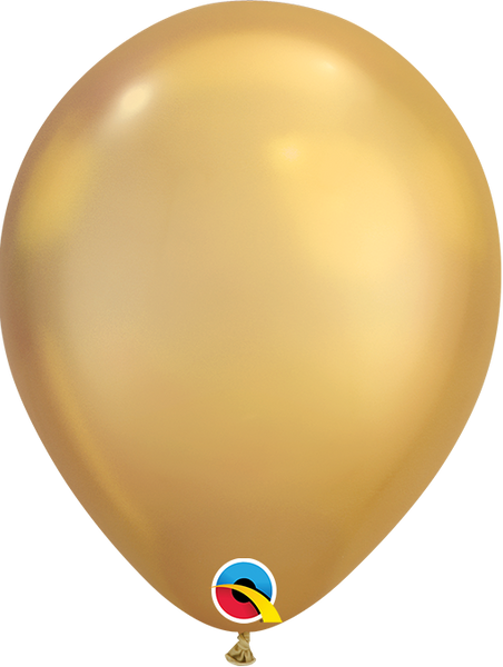 Qualatex 7 inch Round Chrome Gold Balloons 100ct
